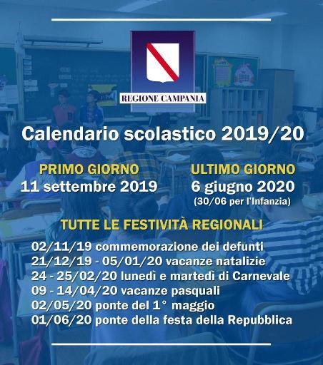 Miur Calendario Scolastico.Calendario Scolastico Regione Campania 2019 2020